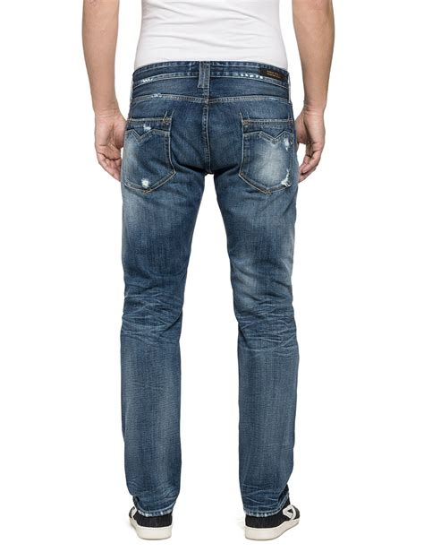 comfort fit mens jeans replay newbill comfort fit jeans in blue for men lyst