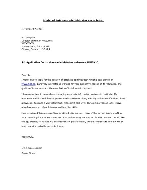 Database Administrator Cover Letter by Model Of Database Administrator Cover Letter