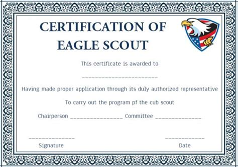 eagle scout certificate template eagle court of honor program template images template