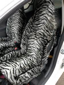 Fur Car Seat Covers Uk Car Seat Covers Silver Tiger Faux Fur Set