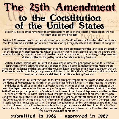 section 4 of the 25th amendment opinions on twenty fifth amendment to the united states
