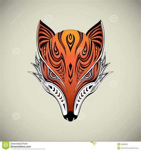 tribal fox stock vector image of brush artistic design