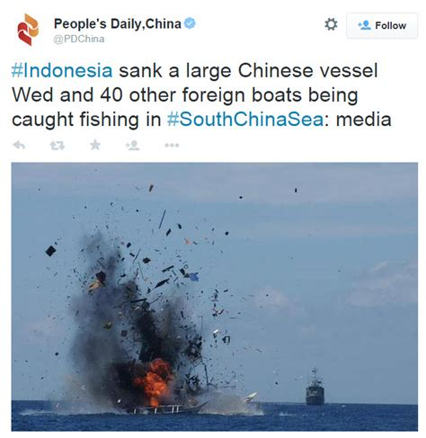 indonesia sinks first vessel from china under jokowi the prison planet com 187 indonesia just sank a large chinese