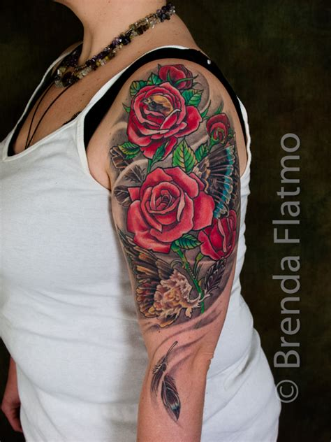 rose upper arm tattoo brenda flatmo and