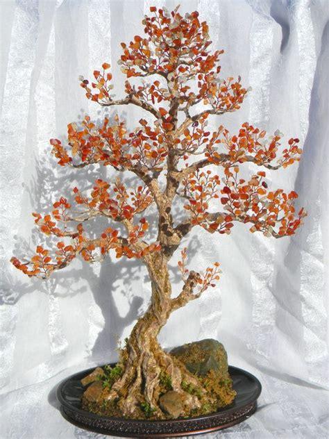 Handmade Trees - autumn bonsai tree handmade home decor wire beaded