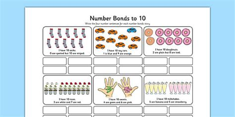 number bonds to 10 stories worksheet number bonds 10
