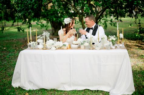gold and white winter styled shoot at manatee river garden