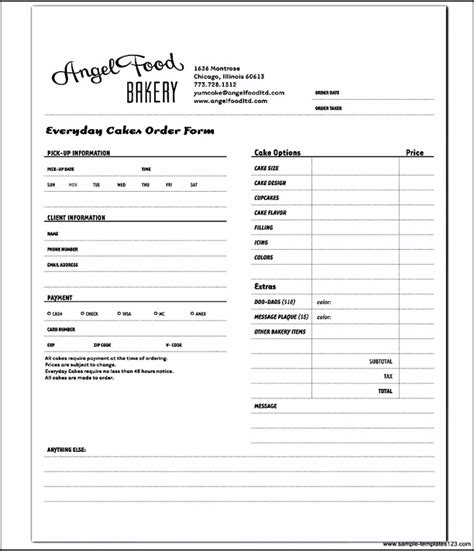 bakery order form template bakery order form template word sle templates