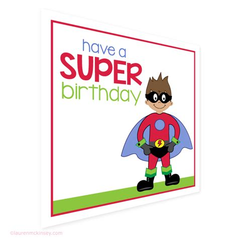 Printable Birthday Gift Tags Cards - gift tags superhero birthday gift tags and card lauren mckinsey printables