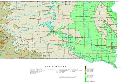 map of sd south dakota contour map