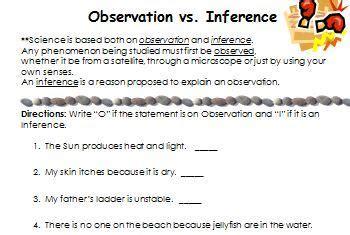 Observation And Inference Worksheet