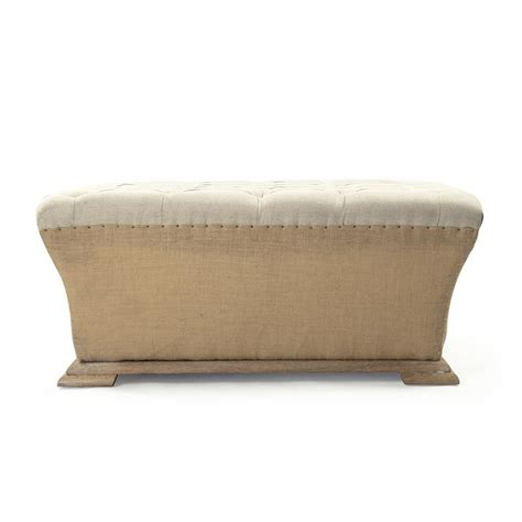 Burlap Ottoman Country Square Linen Burlap Tufted Ottoman Kathy Kuo Home