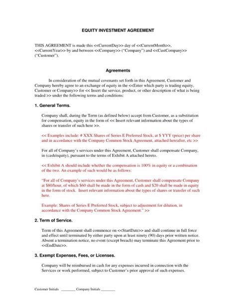 Investment Agreement Template Shatterlion Info Artist Investor Agreement Template