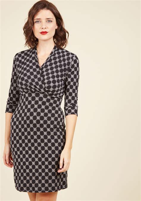 Dress Tile tile and again knit dress in black mod retro vintage