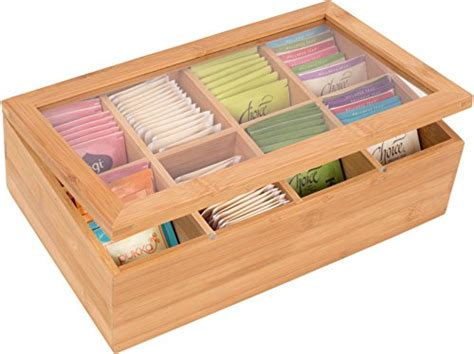 Bamboo Storage Box Besar 12 quot bamboo 8 section tea storage box with hinged clear lid by trademark innovations