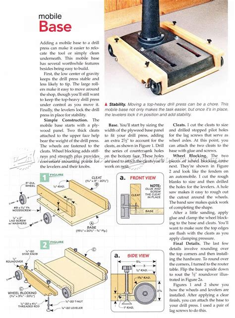 best mobile plans drill press mobile base plans woodarchivist