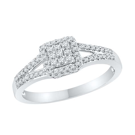 square split shank engagement ring in sterling silver