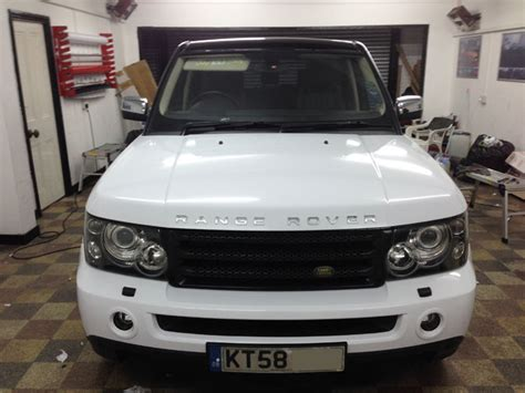 white wrapped range rover range rover wrapped white