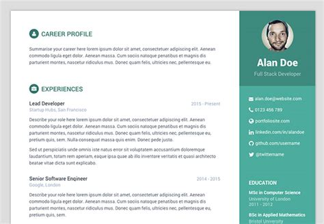 Free Bootstrap Resume Cv Template For Developers Orbit Resume Website Template Free