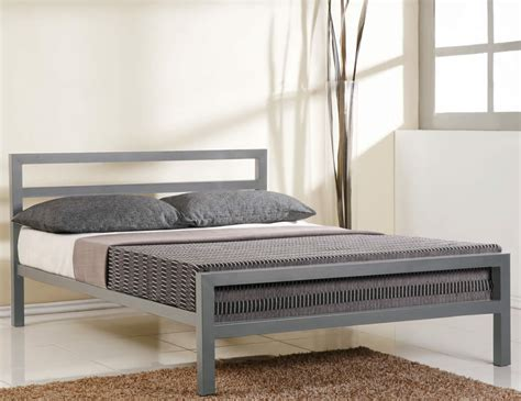 Metal Frame Bed by Time Living City Block Grey Metal Bed Frame