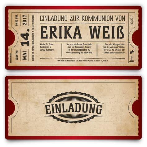 Einladungskarten Rot by Kommunion Einladungskarten Vintage Ticket In Rot