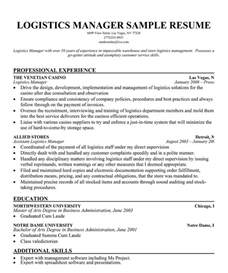 Logistics Analyst Sle Resume by Logistics Sales Manager Resume Sle Resume Senior Manager In Transportation Logistics