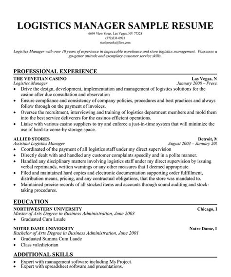 Logistics Associate Sle Resume by Warehouse Logistics Resume Sle Resume Ideas