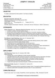 Resume Exles College by College Finance