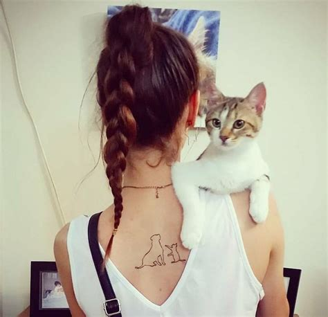 cat tattoo on guy s stomach cat and dog outline tattoo on the upper back little