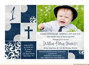 photo navy blue baptism 1st birthday invitations crisp