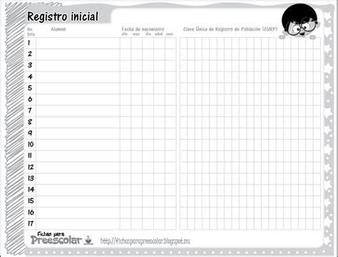 formato lista asistencia preescolar fichas para preescolar agenda preescolar lista para