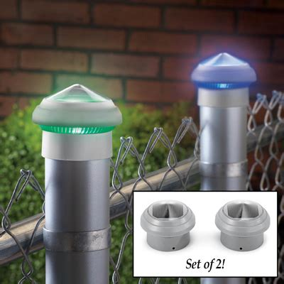 chain link fence solar lights color changing solar post cap lights set of 2 from