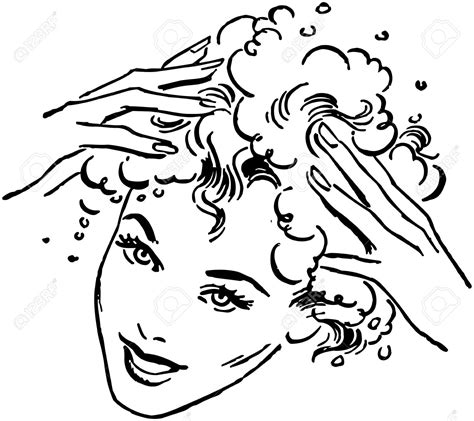 washing hair coloring pages woman washing hair royalty free cliparts vectors and