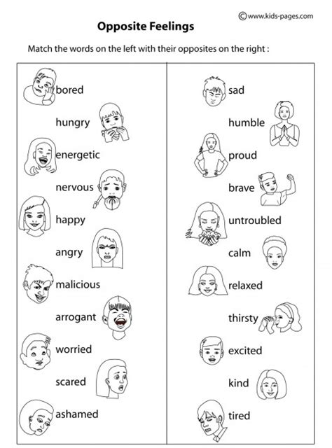 worksheets for preschoolers about feelings opposite feelings b w worksheet