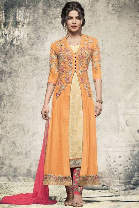 jacket design for salwar suit yellow designer georgette embroidered jacket style