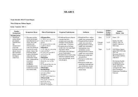 B Inggris Kelas 11 Sma Ma Semester 2 Kurikulum 2013 Revisi 2014 Dikb silabus bahasa inggris kelas xii semester ganjil
