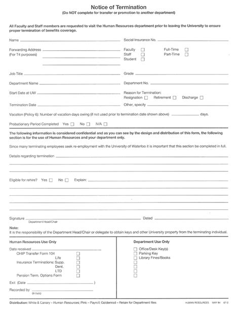 Employee Pink Slip Template Bing Images Termination Form Template