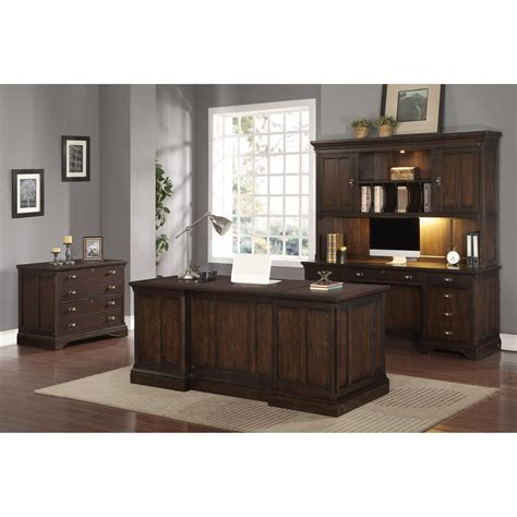 Flexsteel Wynwood Collection Walnut Creek Executive Collection Desk With Hutch And Chair