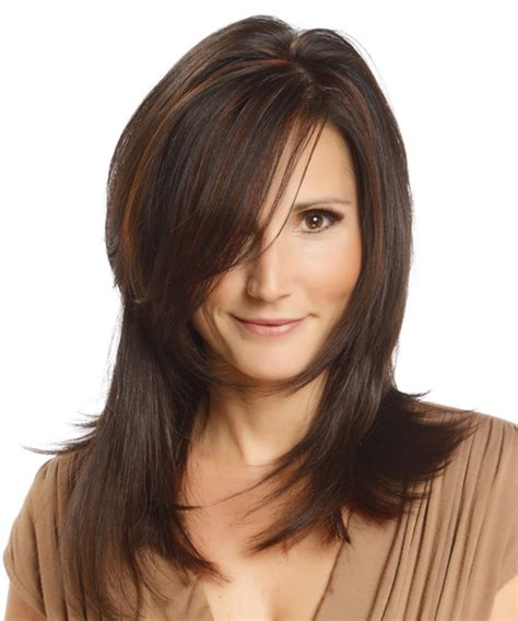 brunette hairstyles with side bangs long straight formal hairstyle with side swept bangs