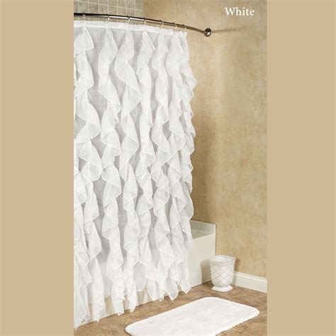 frilly shower curtain cascade ruffled voile shower curtain