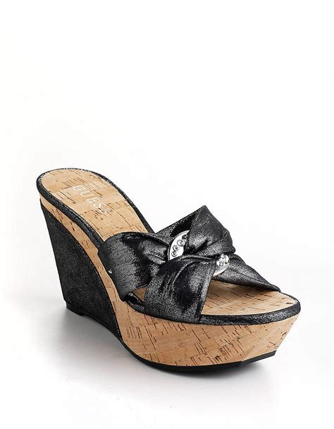 guess wedge shoes guess balasi platform wedge sandals in black bl lyst