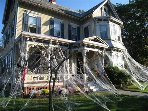 decorated houses halloween house spider decorations