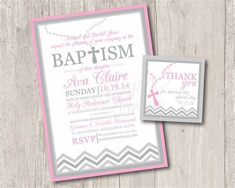 printable thank you tags for baptism printable baby girl baptism invitation with rosary