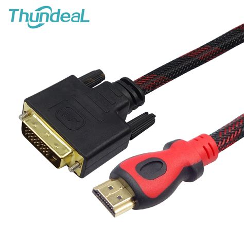 Hdmi To Dvi D Cable 1 5m thundeal hdmi to dvi cable 1 5m 3m 5m 10m braid gold dvi d 24 1 pin adapter hdmi cable 1080p for