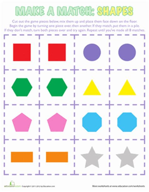 Printable Shapes Matching Game | shapes matching game worksheet education com