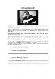 Kurt Cobain English Biography | esl worksheets for adults kurt cobain 180 s biography