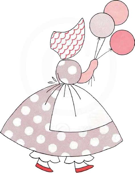 Sunbonnet sue applique pattern little balloon girl