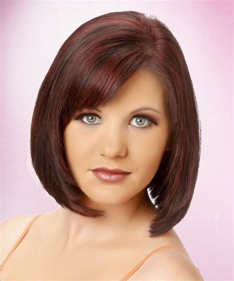 brunette bob hairstyles with bangs medium straight formal bob hairstyle with side swept bangs