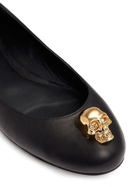 Mcqueen Skull Ballet Pumps by Mcqueen Skull Leather Ballerina Flats In