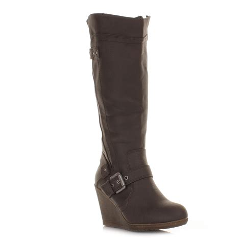 brown knee high heeled boots womens xti wedge heel brown leather knee high biker style